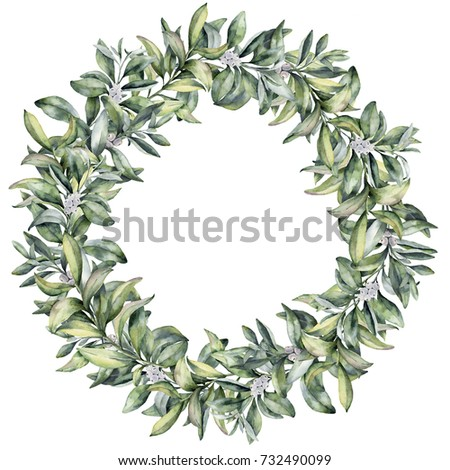 Watercolor winter floral wreath. Hand painted snowberry branch with white berry isolated on white background. Christmas botanical frame for design or print. Holiday plant