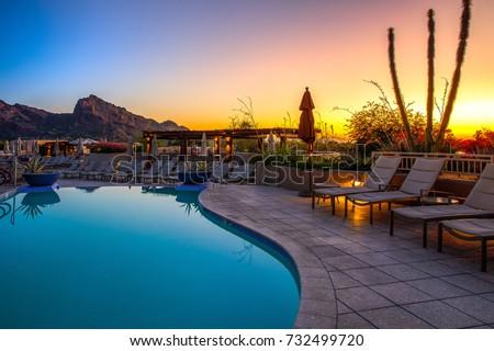 Arizona resort with pool Royalty-Free Stock Photo #732499720