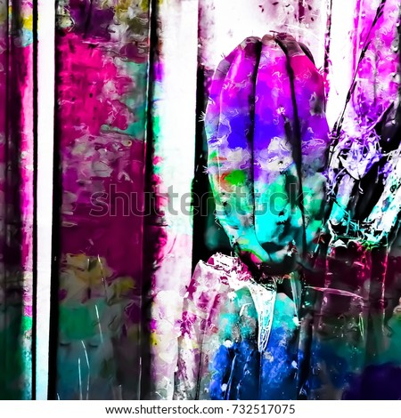 cactus with wood background in painting texture abstract in pink purple green blue #732517075