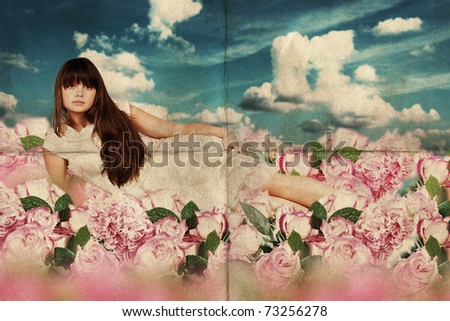 beauty young woman in dress on the meadow with flowers