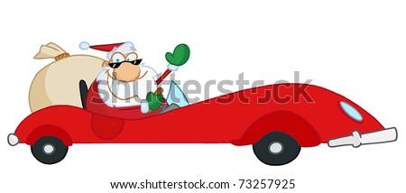 Jolly Christmas Santa Waving And Driving His Red Sports Car