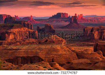 Sunrise in Hunts Mesa navajo tribal majesty place near Monument Valley, Arizona, USA #732774787