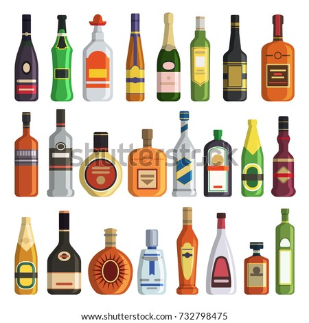Different alcoholic drinks in bottles. Alcohol bottle drink whiskey and champagne, vodka and martini, brandy and rum, vector illustration #732798475