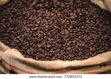 coffee bean in a burlap bag #732803233