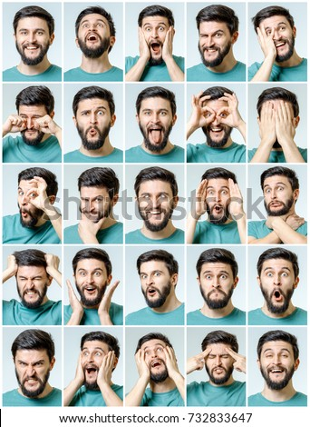 Set of young man's portraits with different emotions and gestures isolated Royalty-Free Stock Photo #732833647