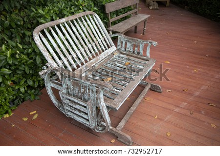 Old wooden chair in the garden #732952717