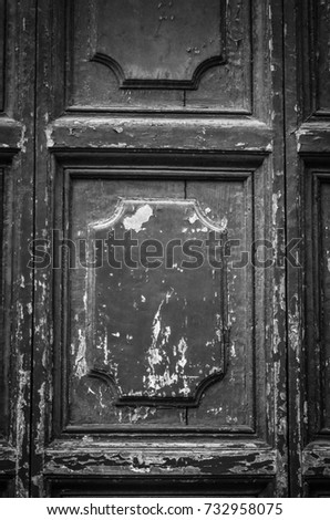 old door close up - black & white photography #732958075