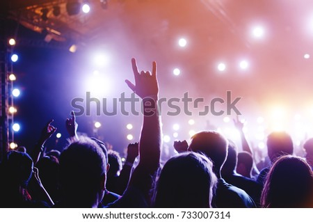 Silhouettes of people in a bright in the pop rock concert in front of the stage. Hands with gesture Horns. That rocks. Party in a club #733007314