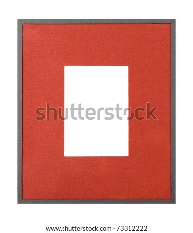 Modern style grey picture frame with red textured matte, cut out over white background