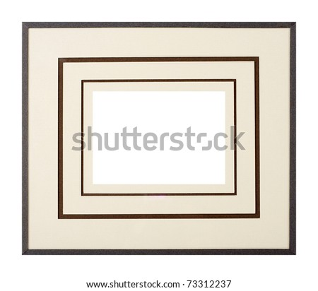 Modern style dark grey picture frame with multi-level cardboard matte, cut out over white background