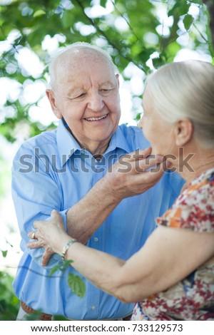 happy elderly aged couple #733129573