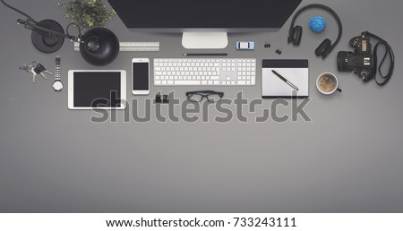 Top view office Royalty-Free Stock Photo #733243111