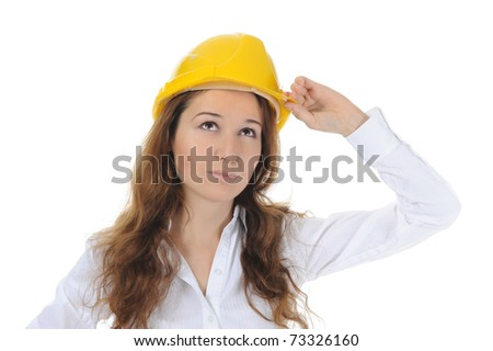 Businesswoman with construction helmet. Isolated on white #73326160