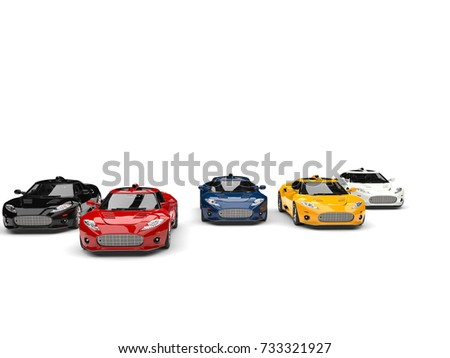 Amazing super sports cars racing - red leading the race - front view - 3D Illustration #733321927