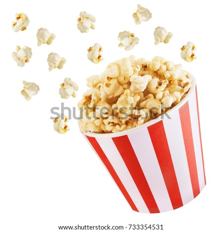 Popcorn Blast side view on white isolated  Royalty-Free Stock Photo #733354531