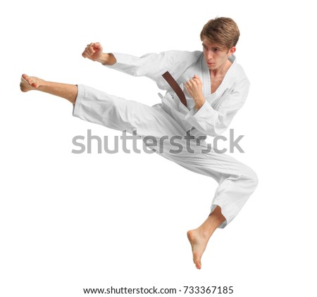 A man in a karate position. Isolated on white background. #733367185