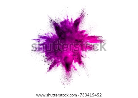 Colored powder explosion on white background. #733415452