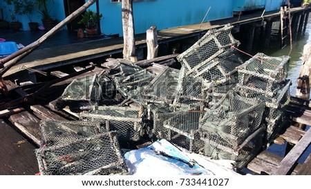 sea crab trap basket in Panyi island #733441027