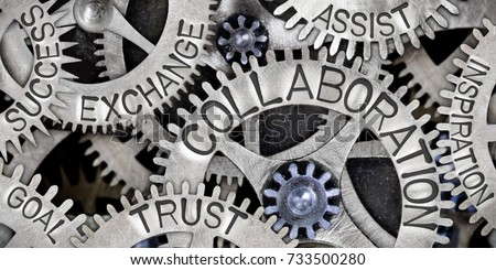 Macro photo of tooth wheel mechanism with COLLABORATION, EXCHANGE, TRUST, ASSIST, GOAL, SUCCESS and INSPIRATION concept words Royalty-Free Stock Photo #733500280