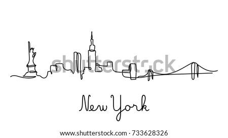 One line style New York city skyline. Simple modern minimalistic style vector. Royalty-Free Stock Photo #733628326