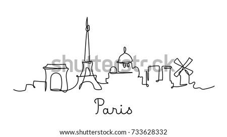 One line style Paris city skyline. Simple modern minimalistic style vector.