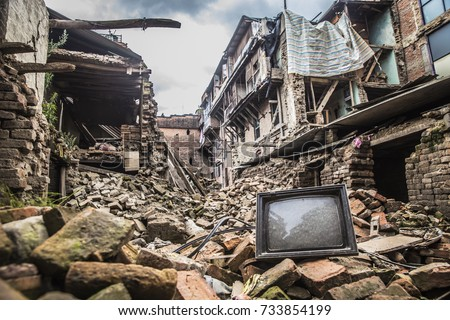 Rubble of collapsed building post earthquake of nepal, 2015 #733854199