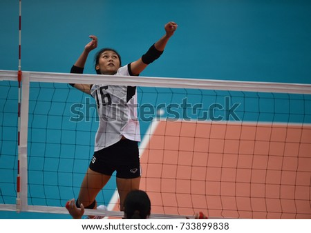 Kualalumpur-Malaysia-27aug2017:Pimpichaya Kokram player of thailand in action during competition female volleyball 29th SEAgames between thailand and indonesia at mitec,malaysia #733899838