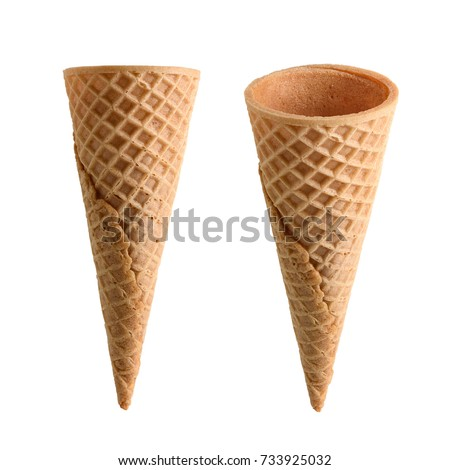 Collection of empty ice cream cone isolated on white background Royalty-Free Stock Photo #733925032