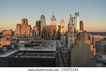 Philadelphia, Pennsylvania, USA center city skyline at sunrise