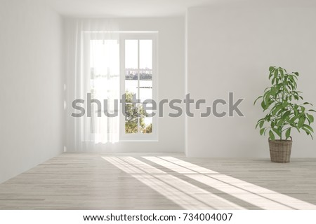 White empty room with summer landscape in window. Scandinavian interior design. 3D illustration #734004007
