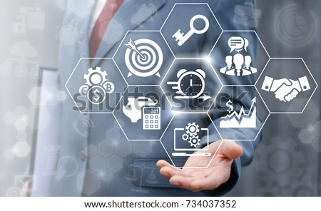 Agile Development (Agility Developing), Time Management, Work Planning Business concept. Businessman offers alarm clock arrow icon on a virtual screen. #734037352