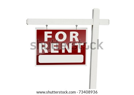For Rent Real Estate Sign Isolated on a White Background with Clipping Path.