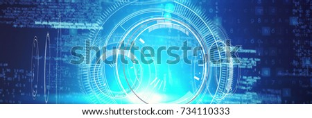 Digital composite image of interface against white background