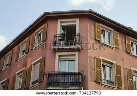 Windows  of a residential building, with balconies #734127793