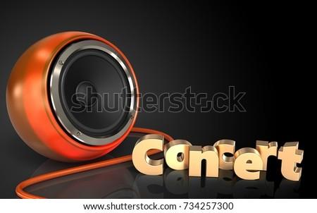 3d illustration of orange speaker over black background with concert sign #734257300