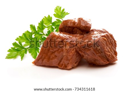 Stew Meat with herbs isolated on white background #734311618