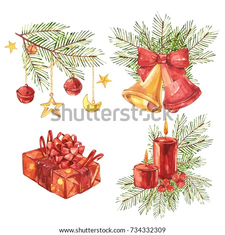 Set of Vintage Christmas illustrations. Christmas candle, tree and decorations. Watercolor design isolated on white background. #734332309