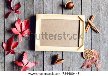 How to make a Thanksgiving centerpiece and present or gift - step by step:flowers, leaves, frame for photo and other objects necessary to make a bouquet