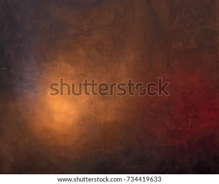painted photographic backdrop lightened with orange and pink gel