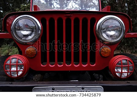 Red jeep - antique Jeep grille and headlights - antique jeep front photo #734425879