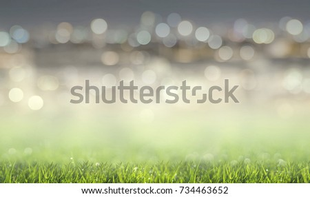 Abstract background green grass field with lights blurred bokeh.