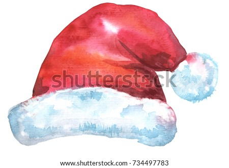 Santa Claus red hat. Watercolor illustration, isolated on white
