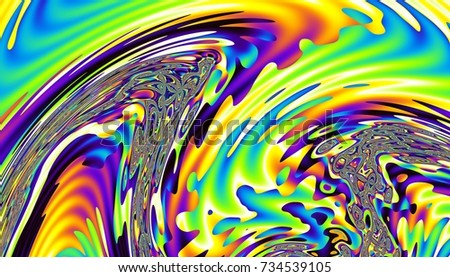 Abstract digital fractal pattern. Psychedelic rainbow colors wavy texture. #734539105