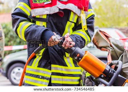 WAHTLINGEN / GERMANY - OCTOBER 15, 2016 : The german firefighters have a exercise with tools #734546485
