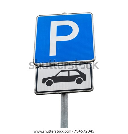 Motor car parking sign. Blue square road sign isolated on white background