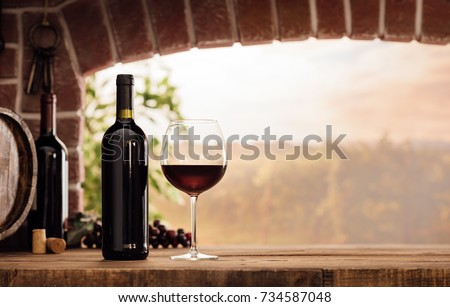 Red wine tasting in the wine cellar: wineglass and bottles next to the window and panoramic view of vineyards at sunset #734587048