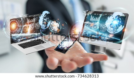 Businessman on blurred background connecting tech devices 3D rendering #734628313