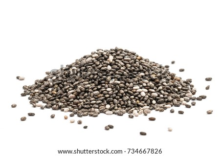 Pile of healthy chia seeds isolated on a white background #734667826