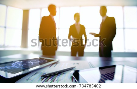 Boards of directors are meeting on topic of marketing and revenue for the fiscal year business review Royalty-Free Stock Photo #734785402