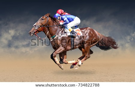 Two racing horses neck to neck in fierce competition for the finish line #734822788